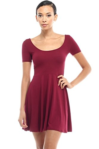 [2LUV Women's Short Sleeve Scoop Neck Fit & Flare Skater Dress Burgundy M] (Grady Twins Costume)