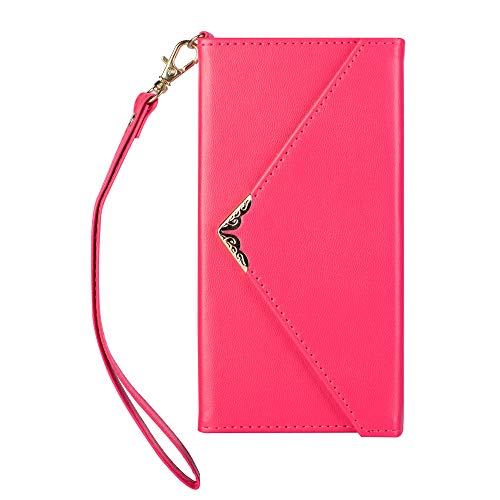 Gostyle Leather Wallet Case for Samsung Galaxy S10+/S10 Plus,Girls Women Envelope Handbag Case with Card Holder,Flip Magnetic Closure Purse Cover with Hand Strap and Cash Pocket-Rose Red