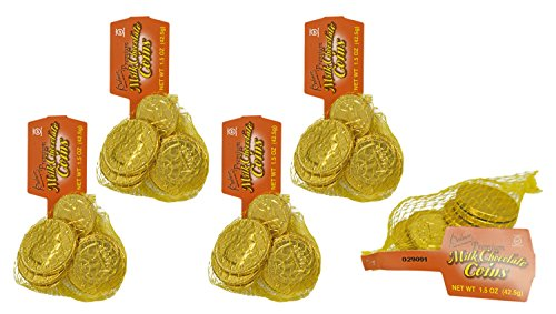 Set of 45 Palmer's Premium Milk Chocolate Coins - 5 Bags of Coins - Perfect Party Favor, Table Scatter, Easter Egg Filler, and More! -