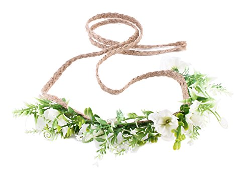DDazzling Tieback Flower Crown Headband Floral Crown Wreath (White) for $<!--$9.99-->