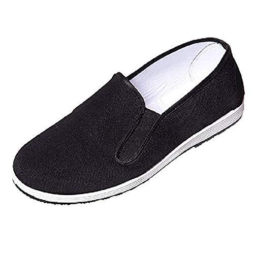 DoGeek Kung Fu Shoes Martial Arts Shoes Tai Chi Shoes Peking Shoes for Men/Women Old Beijing Shoes - Rubber Sole(39-45) (Men6/Women7.5-EU38, Black)