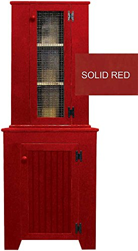 Sawdust City Corner Jelly Cupboard & Hutch Set (Solid Red) Pine Solid Pine Cupboard