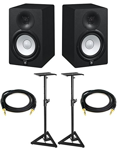 Yamaha HS7 Powered Studio Monitor Pair Bundle with Two Monitors, Stands, TRS Cables, and Austin Bazaar Polishing Cloth (Yamaha Studio)