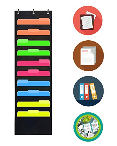 (10 Pocket Wall Storage Pocket Chart, Hanging File Folder Organizer with Free Bonus 3 Door Hangers, Best Pocket Chart for School , Office or Home Use, Wall or Over Door Mount)