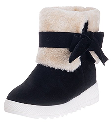 IDIFU Womens Sweet Folded Mid Heels Wedge Heighten Faux Fur Lined Snow Booties With Bow Black 6V31GQEiA