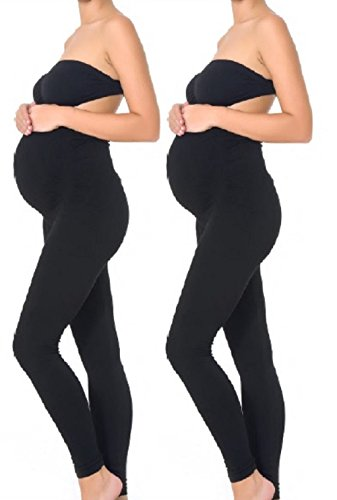 (Mothers Essentials Maternity Pregnant Women Leggings (M-2PACK, Black))