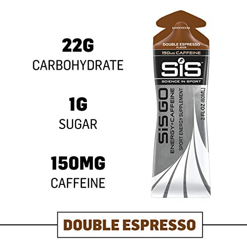 Science in Sport Energy Gel Pack, SIS Energy Gel + Caffeine, 22g Fast Acting Carbs, Performance & Endurance Gels, Double Espresso Flavor – 2 Oz. (6 Pack)