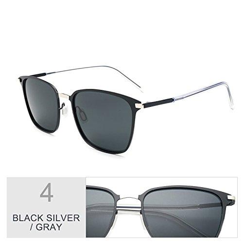 TL hombres Black Classic para Oro de Silver sesgados delgado gafas conducción sol de Square de gafas gris Negro ultra Sunglasses luces Gray gwrFg