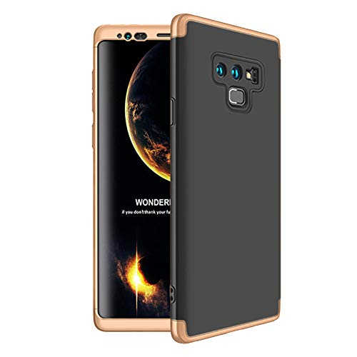 HONTECH Compatible Samsung Galaxy Note 9 Case, Slim Fit 3 in 1 Hard PC Shockproof Full Body Protective Cover, Gold-Black-Gold