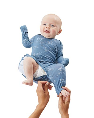 gunaPAJAMA Baby Boys Zipper-Easiest Diaper Change, Planes, Denim Blue, Newborn