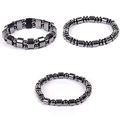 Wintefei Biomagnetic Multi-shaped Black Hematite Stone Magnetic Bracelet Health Weight Loss - Black 2 from Wintefei