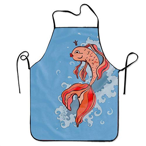 - Professional Cooking Apron Chef Designed for Kitchen BBQ Grill-Goldfish Red