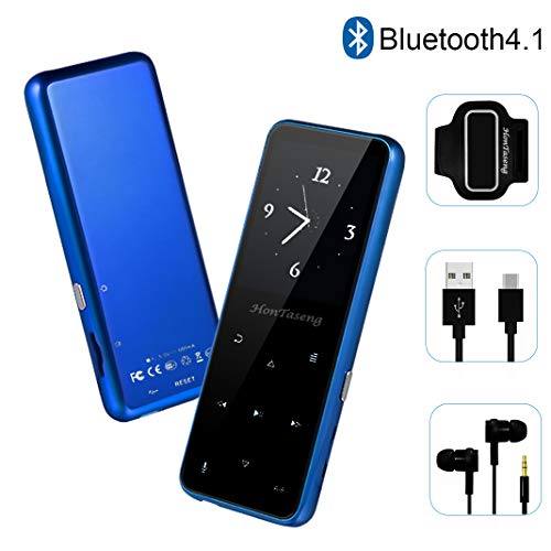MP3 Player – HonTaseng Bluetooth 4.2 Metal Touch Button Sport Music Player with Armband, 60 Hours Playback Time, HiFi Sound with Voice Recorder and FM Radio, Expandable 64GB TF Card, Blue