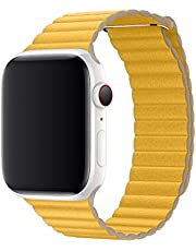 leather loop band for apple watch series 4/5, 44mm yellow color