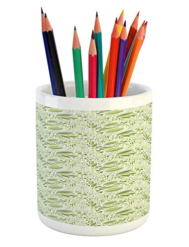 (Lunarable Abstract Pencil Pen Holder, Nature Theme Green Tone Monochrome Fantasy Floral Swirling Pattern with Dots Print, Printed Ceramic Pencil Pen Holder for Desk Office Accessory, Multicolor)
