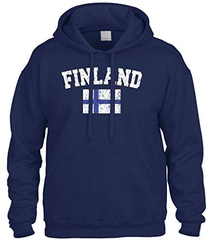 Cybertela Faded Distressed Finland Flag Sweatshirt Hoodie Hoody (Navy Blue, X-Large)