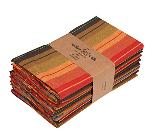 Urban Villa,Cuisine Stripes, Dinner Napkins,Everyday Use, Premium Quality,100% Cotton, Set of 12, Size 20X20 Inch, Over sized Cloth Napkins with Mitered Corners, Ultra Soft, Durable Hotel Quality