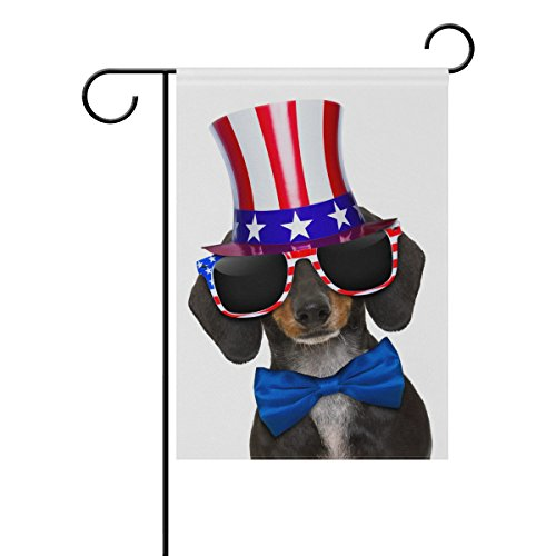 ALAZA Independence Day Cute Dachshund Polyester Garden Flag