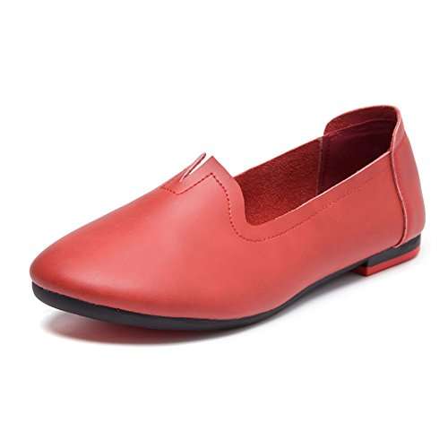 Red Driving on Leather Work Moccasins Wine Shoes Loafers Flats Slip Women's v4qwCZ