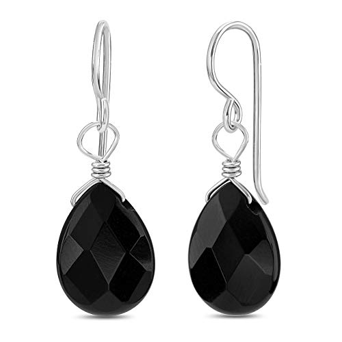 (FRONAY Genuine Black Onyx Sterling Silver Drop Dangle Hook Earrings - Made in USA (onyx))