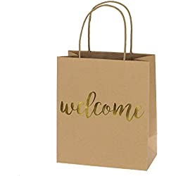 Ling's moment Set of 25 Kraft Paper Gold Welcome Gift Bags for Wedding Hotel Guests, Weekend Destination Wedding Favors
