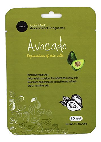- Celavi Essence Facial Mask Paper Sheet Korea Skin Care Moisturizing 12 Pack (Avocado)