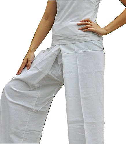 One Tone Pure White Pants Yoga Pants Thai Fisherman Trousers Free Size Cotton Drill.