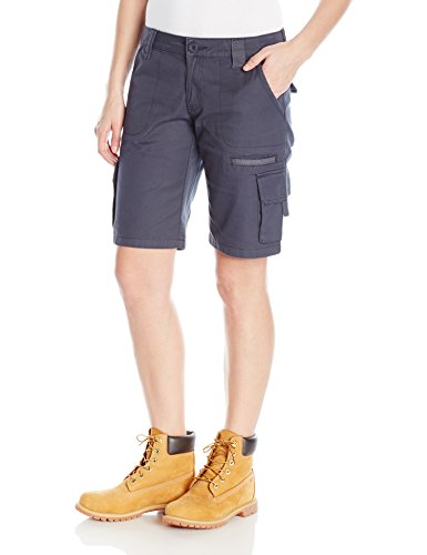 Dickies Women's 11-Inch Relaxed Cargo Short, Rinsed Diesel Gray, 4 (Best Gym Equipment Brands In The World)