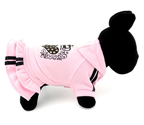 SELMAI Pink Heart Princess Hoodie Dog Dress Coat Ruffles for Small Dog Cat Puppy Fleece Sweater Hooded Sweatshirt Skirts Chihuahua Yorkie Clothes Size M