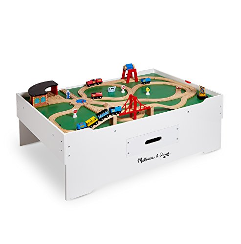 Melissa & Doug Deluxe Wooden Multi-Activity Play Table - For Trains, Puzzles, Games, More by Melissa & Doug (Image #4)
