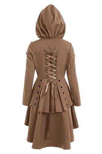 EastLife Women's Halloween Custumes Casual Long Sleeve Lace Up High Low Hooded Coat (Adult Halloween Custumes)