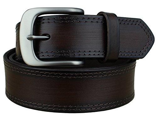 [Bullko Men's Retro Pin Buckle 7548 Genuine Leather Belt Coffee 34-36inch] (Retro Buckle)