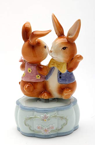 Cosmos Gifts Fine Porcelain Dancing Best Friends Bunny Rabbit Musical Figurine (Music Tune: It's a Small World), 5-3/8
