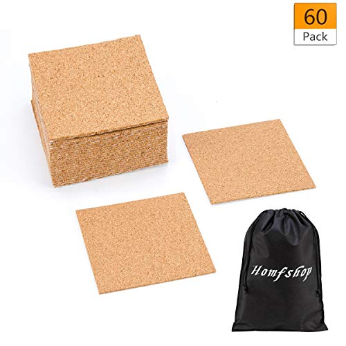 "60 Pack Self-Adhesive Cork Squares - 4""x 4"" Cork Backing Sheets Mini Wall Cork Tiles for Coasters and DIY Crafts"