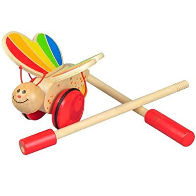 Award Winning Hape Butterfly Wooden Push and Pull Walking Toy: Toys & Games