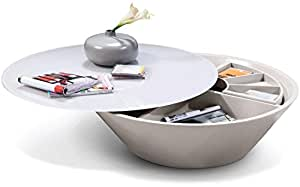 """vgwcp505C modrest 39""""parte superior de cristal y giratorio de mesa de café con compartimento de almacenamiento en color gris acabado"""