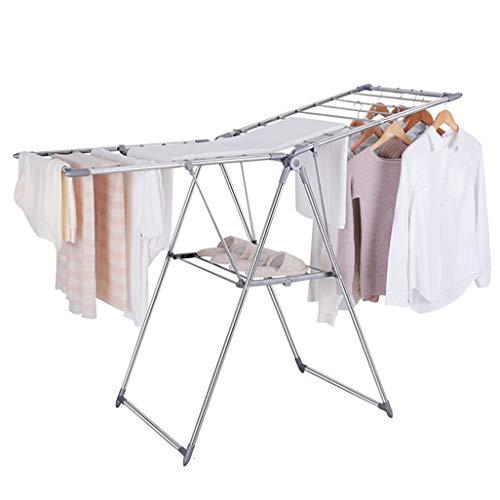 Aireador de ropa de 2 niveles con alerones Plegable Acero inoxidable Lavado de secado Rack Línea de lavado Seque 19 barras...