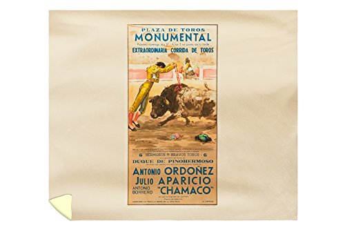 Plaza de Toros Monumental - Ordonez - Aparicio - Chamaco Vintage Poster (artist: Reus) Spain c. 1957 (88x104 King Microfiber Duvet Cover) by Lantern Press