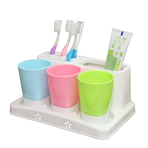 Basicwise QI003326 Family Size Toothbrush and Toothpaste Holder with 3 Cups