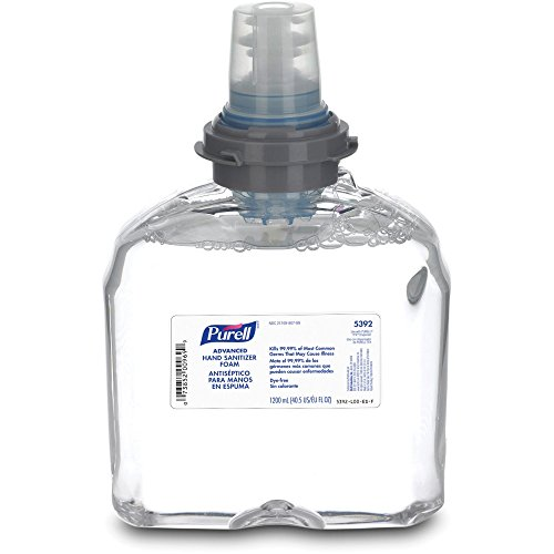 PURELL TFX Advanced Hand Sanitizer Foam, 1200 mL Sanitizer Foam Refill for PURELL TFX Touch-Free Dispenser (Pack of 2)- 5392-02