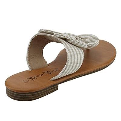 Nature Breeze EM13 Womens Bow Thong Fabric Denim Summer Beach Flip Flop Flat Sandal