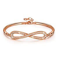 """LadyColour SWAROVSKI ELEMENTS Crystal Jewelry With Infinity Design """"Endless Love"""" Bangle Bracelet Made with Crystals From Swarovski 2016 Jewelry Mothers Day Gifts For Her"""