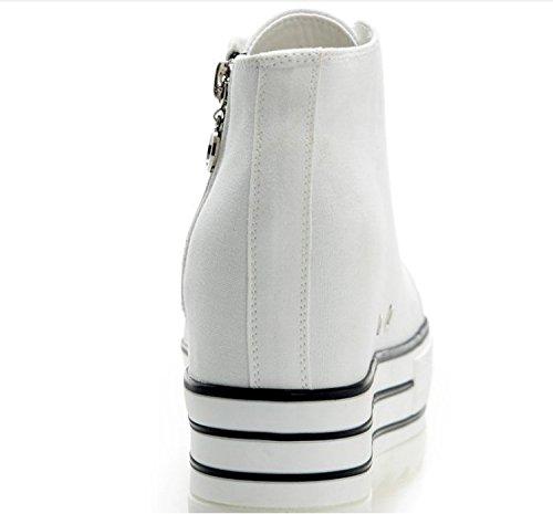 KHSKX-Gao Bang Zapatos De Tela Impermeable Zapatos De Plataforma Zapatos Casuales Y Encaje Blanco Blanco Treinta Y Cinco Thirty-nine
