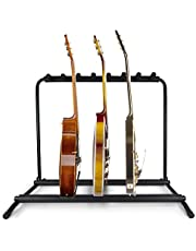 Pyle Multi Guitar Stand 7 Holder Foldable Universal Display Rack - Portable Black Guitar Holder With No slip Rubber Padding for Classical Acoustic, Electric, Bass Guitar and Guitar Bag