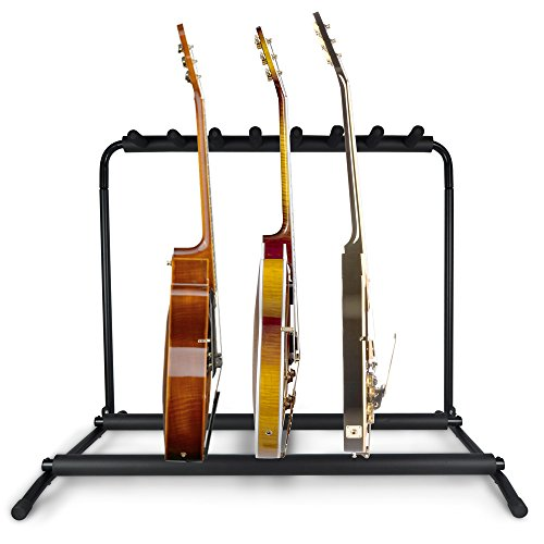 Pyle Multi Guitar Stand 7 Holder Foldable Universal Display Rack - Portable Black Guitar Holder With No slip Rubber Padding for Classical Acoustic, Electric, Bass Guitar and Guitar Bag/Case - - Rack Bass