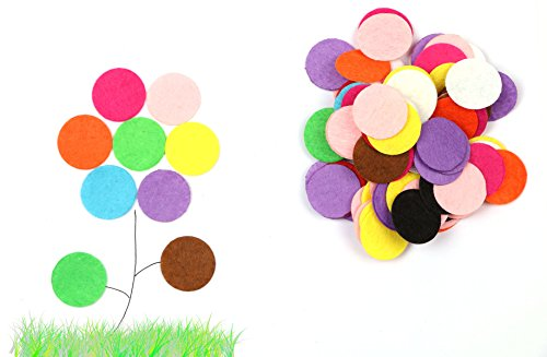 Shapenty 25mm/1 Inch Mixed Colored Decorative Small Round Felt Circles Pads Assortment for DIY Craft and Sewing Handcraft, 100PCS