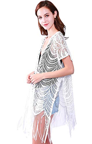 Womens Fashion Lace Crochet Open Front Cardigan Kimono Blouse Tops with Tassels (white) from MissShorthair