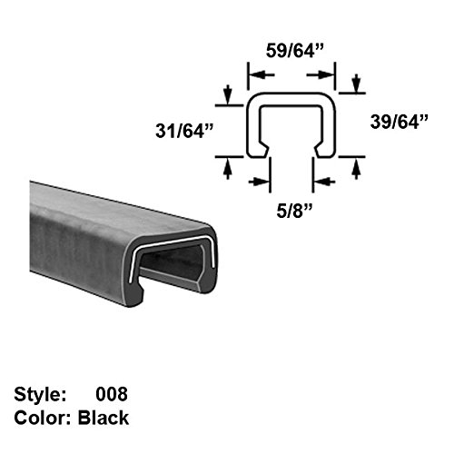 Heavy Duty Rubber C-Channel Push-On Trim, Style 008 - Ht. 39/64'' x Wd. 59/64'' - Black - 25 ft long by Gordon Glass Co.