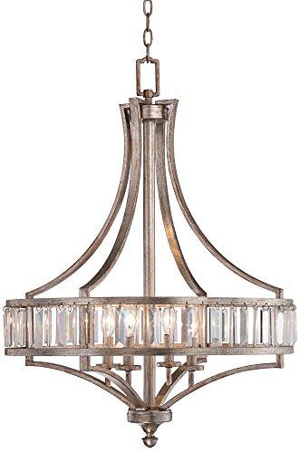 Soft Silver 4-Light 24″ Wide Crystal Chandelier