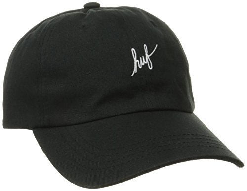 HUF Men's Script Logo Curved Visor, Black, One Size